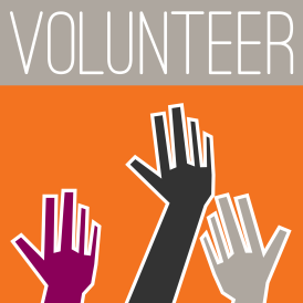 """image of raising hands with the word """"volunteer"""" above them"""