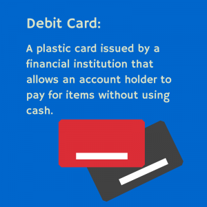 Debit Card: A plastic card issued by a financial institution that allows an account holder to pay for items without using cash.