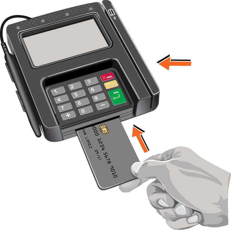 Debit Card being inserted to pay for an item at the store.
