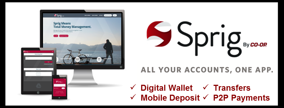 Sprig by CO-OP! All your accounts, one app. Digital Wallet, Mobile Deposit, Transfers, and P2P Payments