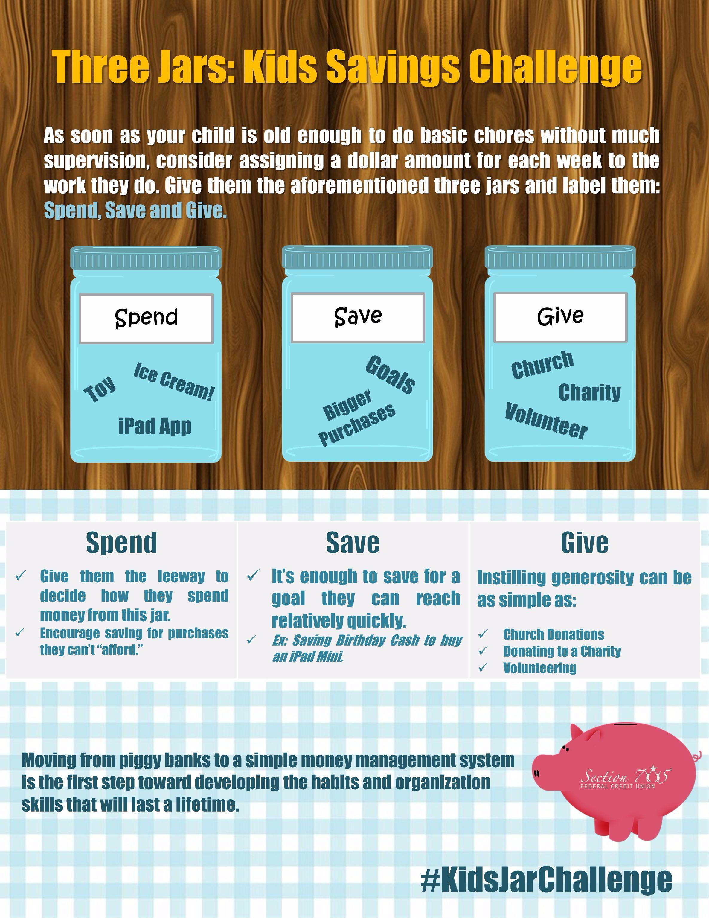 Three Jars: Kids Savings Challenge