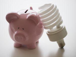 piggy bank and light bulb